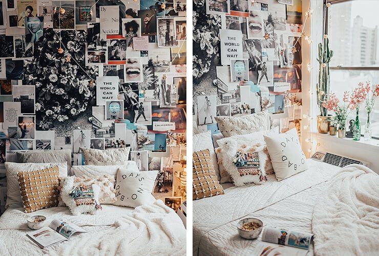wall covered in collage of photographs