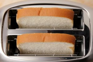 Bread in toaster.